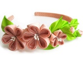 Flower headband with peach/coral fabric flowers.  Peach blossom Flowers Headband Wedding accessories Bridal headpiece Bridal hair