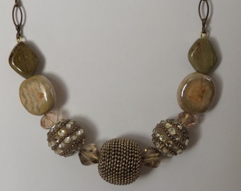 Beaded Antiqued Brass Necklace