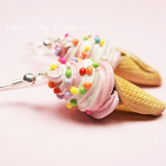 Strawberry Vanilla Ice Cream Earrings Miniature Food Jewelry Polymer Clay Earrings Handmade Gift Girl Sterling Silver