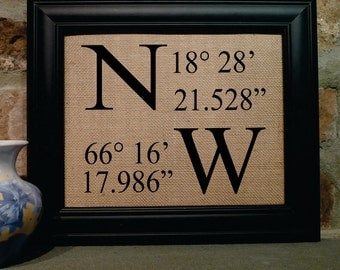 GPS Coordinates, Latitude and Longitude, Home GPS coordinates, Custom Home Print, Wedding Gift, Burlap Print, Custom made print (coor301)