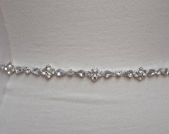 Thin Rhinestone Belt- Bridal Belt -Bridal Belt or Bridesmaids Belt- Crystal Bridesmaid Belt- Wedding Bridal Sash - EYM B027