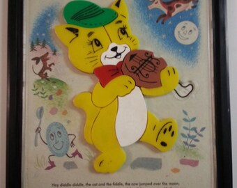 Hey Diddle Diddle Framed Puzzle, a Child Guidance Toy, No. 943, Dated 1962