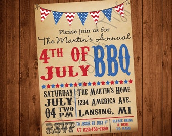 Antique Banner 4th of July Party Invite (Printable)