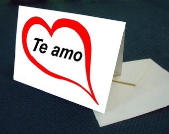Hispanic I LOVE YOU card with envelope
