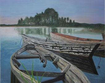 Boats landscape, Original Oil Paintings, Abstract painting , Nature, Lake, Water painting, Realism, Water reflection, 19.7x23.6in /50 x 60cm