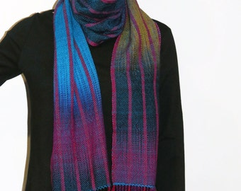 Hand Woven Gradient Scarf - Color Pooled Wichtelwalzer with Stripes