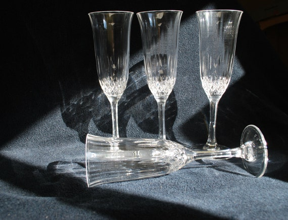 Vintage champagne glasses crystal d 39 arques france fluted for Arc decoration arques
