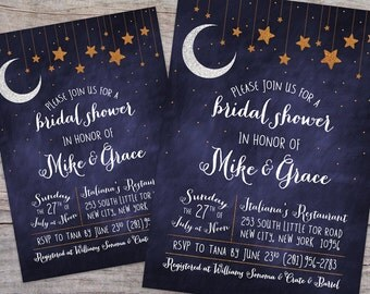 Over the Moon Starry Night Bridal Shower Invitation with Free Shipping or DIY Printable