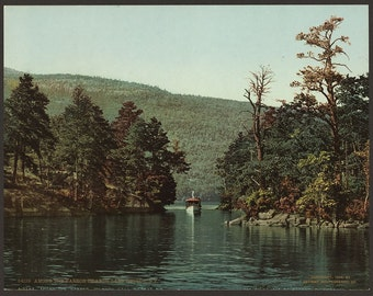 Among the Harbor Islands, Lake George, N.Y. 1904. Vintage photo postcard reprint 8x10-up. Islands Lakes & ponds Boats New York (State)