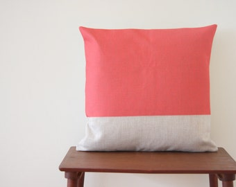 """18""""x18"""" Decorative Pillow Cover Geometric Pattern Color Block Pink Coral Cushion Cover Throw Cushion Cover"""