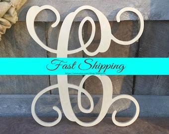 Wooden Letter - Unpainted Vine Script Letter - Door Hanger - Wall Hanging - Wedding Guest Book - Wooden Monogram