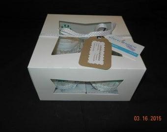 Diaper Cupcakes - Set of 4, teal