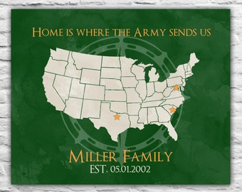 Gift for Army Family, Army Wife Going Away Military Family Hail and Farewell, Soldier Home Is Where the Army Sends Us United States Army Map