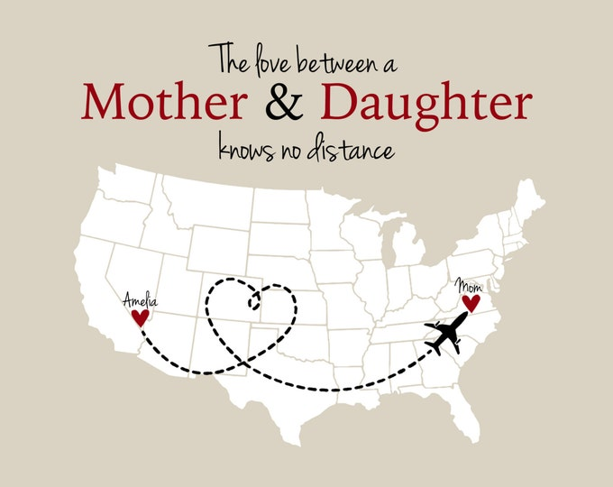 Mother and Daughter Long Distance Print Mother's Day Gift for Mom From Kids Children Personalized Map Love Knows No Distance Quote Heart