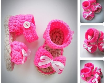 Crochet Pink Baby Girl Sandals with Bows, Summer Baby Shoes, Baby Spring Sandals, Newborn Crochet Booties, Baby Girl Shoes, choose size