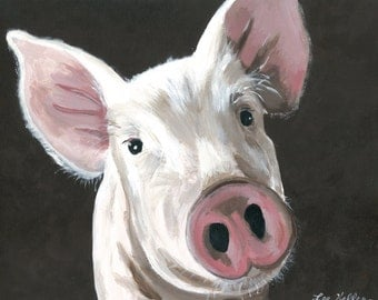 Pig art print from original pig painting, pig decor