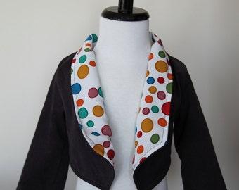 Steel Gray Corduroy Girls Haute Hippie Crop Jacket in Size 3T