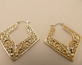 Gold Tone Filagree Large Vintage Earrings