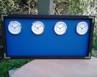 The Original  Time Zone Chalkboard Clock, With 3 Or 4 Clocks Any Color Frame. Donald Duck Blue