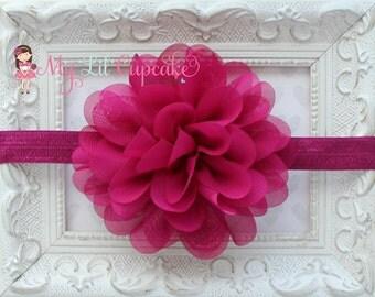 SALE! 40% OFF Plum Baby Headband - Plum Chiffon Headband - Scalloped Plum Baby Bow - Plum Flower Headband - Plum Flower Bow