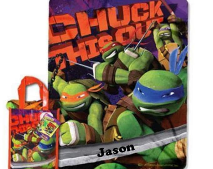 TMNT Teenage Mutant Ninja Turtles Throw & Tote Set  ''Chuck this Out''  Personalized