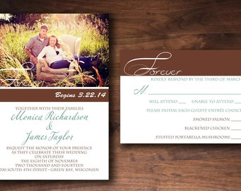 Simple Classy Modern Picture Photo Wedding Invitation Set Made to Order
