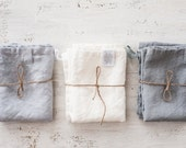 Linen towels. Set of 3 washed natural, eco - friendly, handmade linen towels