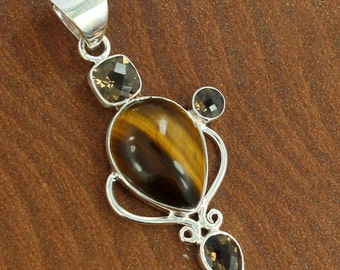 Natural Tiger Eye, Smoky Quartz Gemstone 925 Sterling Silver Pendant, ,Handmade Pendant Prong Wedding Gift Jewelry