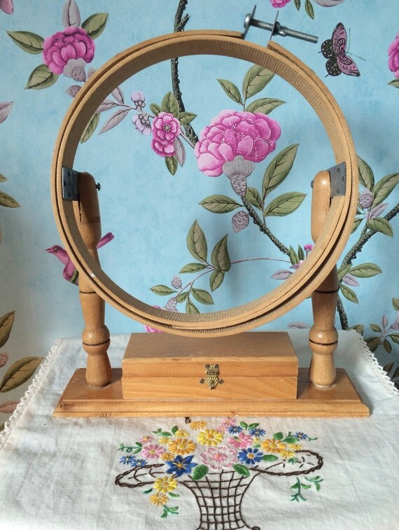 Items similar to vintage wooden embroidery hoop on stand