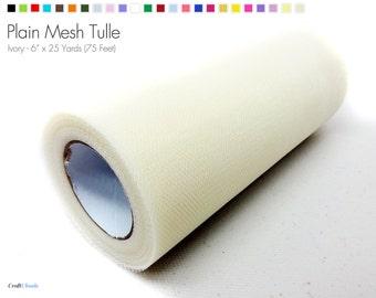 "Ivory Plain Nylon Mesh Tulle - 6"" x 25 Yards (75 Feet)"