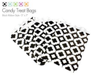 "25 Black Ribbon Style Candy Treat Bags - 5"" x 7"""