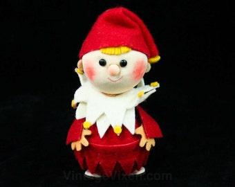 Kitsch 60s Christmas Ornament - Felt Elf - 1960s - Holidays - Elves - Clown - Red & White - Cute - Court Jester - Deadstock - 42353