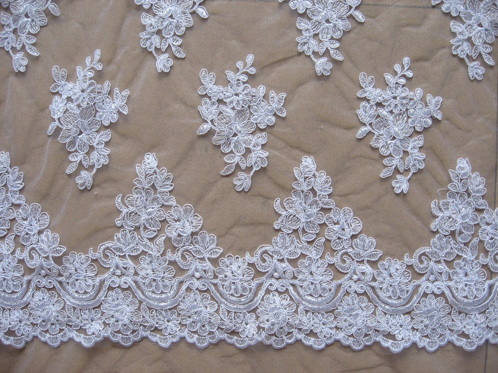 White Bridal Lace Fabric Wedding Gown Lace Fabric For