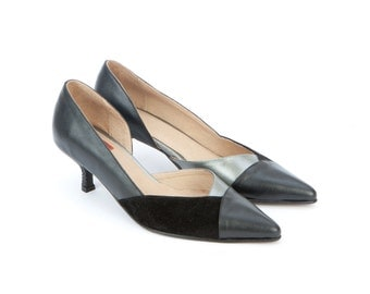 Womens Leather Shoes Ludwig Black Silver Pumps Low Kitten Heels Pointy Toe Suede Wedding Fashion Elegant Prom Size 4 5 6 7 8 9 10 11 12 35