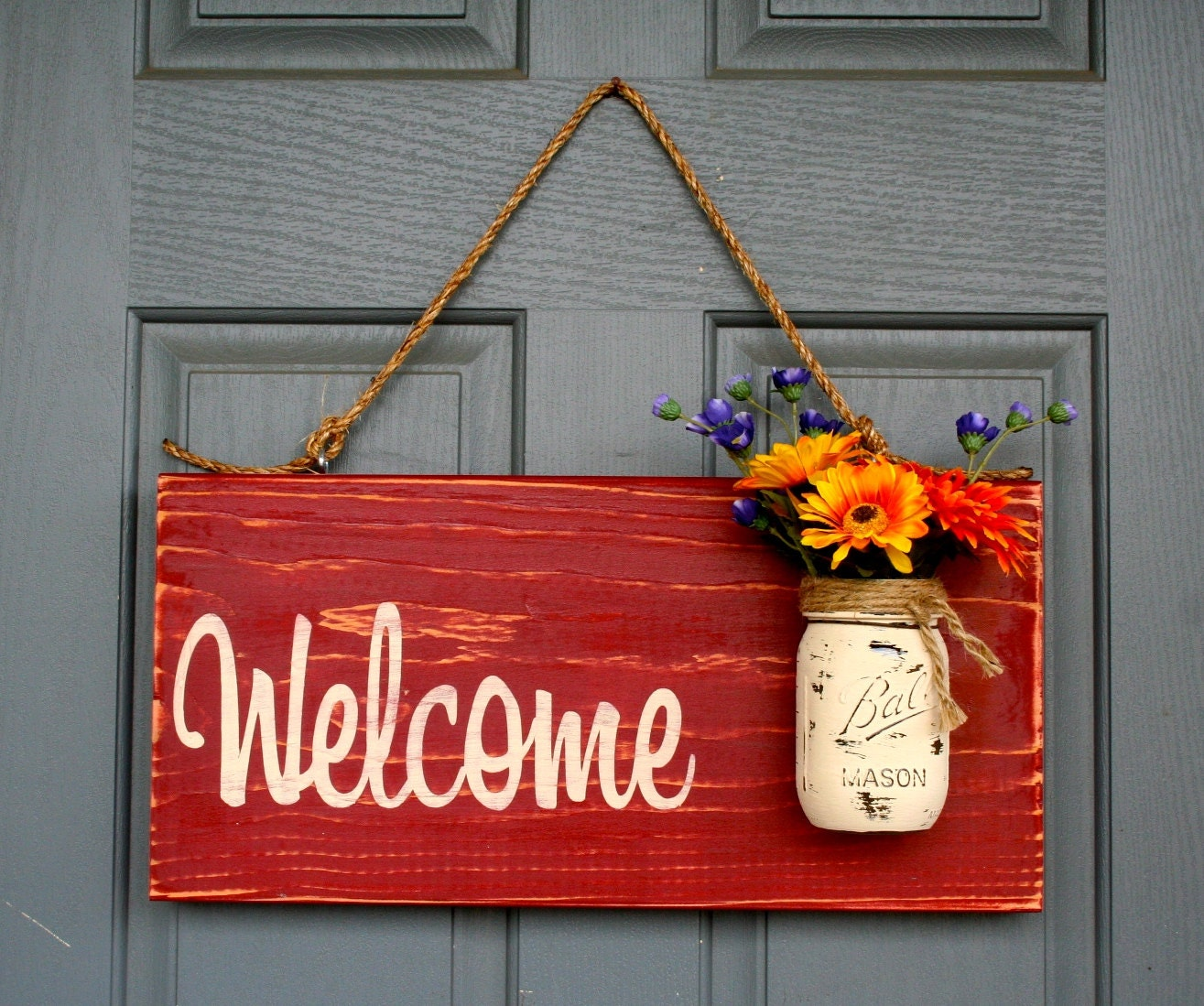 Welcome outdoor signs home decor wooden signs by redroansigns for Sign decoration