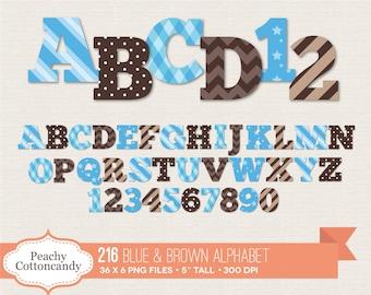 BUY 2 GET 1 FREE 216 Baby Boy Alphabet Clip Art / Blue and Brown Alphabet Clipart / digital alphabet - commercial use ok