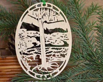 Wooden Waterfall ornament woodcut of Silver Falls Oregon wooden decoration