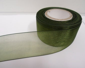 3mm 9mm 15mm 25mm 40mm Rolls, Olive, Dark Green Sheer organza ribbon, 2, 10 or 25 metres, Double sided,