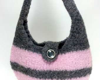 Hand Knit and Felted Purse Pink & Gray Yarn with Button Girls or Ladies Purse Handbag