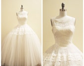 RESERVED Vintage Bridal Fully restored 1950's  Miriam Originals wedding dress - Chantilly lace and tulle Wedding ballgown