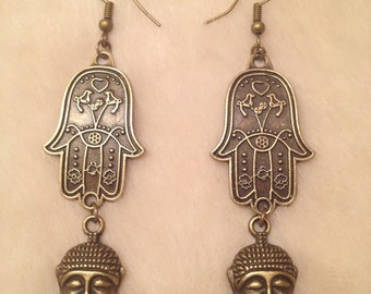 Bronze Hamsa Hand Buddha Charm Earrings