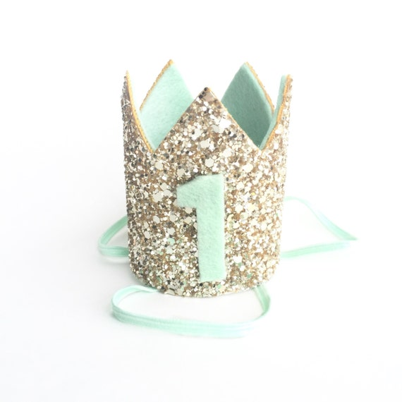 Miniature 1st Birthday Crown Headband Mint Green And By