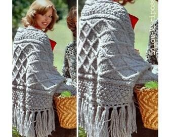 SHAWL PATTERN Knitting Pattern Vintage 70s Irish Fringed Poncho Pattern Sweater Pattern Cape Pattern Throw Pattern