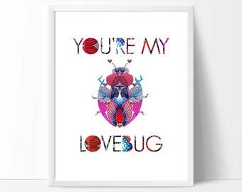 Colourful Children's Room Art, art, printable wall art, downloadable print, baby birthday gifts, nursery decor, kids playroom, I love You