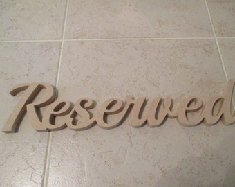 Free standing word Reserved script words for wedding