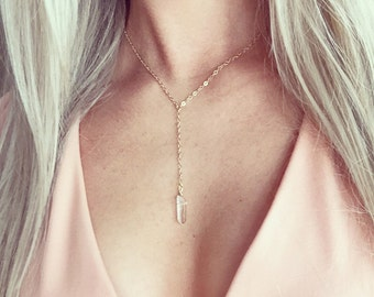 Y Necklace Gold Silver, Healing Crystal Quartz Necklace, Gold Silver Lariat Necklace, Small Quartz Necklace Silver Gold, Delicate Necklace