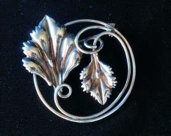Sterling Silver Leaf Brooch