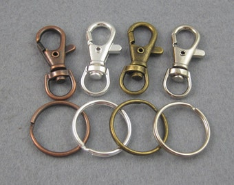 25 Pieces Key Chains, SWIVEL CLIPS + Key Ring, Key Clasp and Split Rings in Silver, Bronze, Copper, Platinum