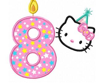 8th Birthday Kitty Applique Machine Embroidery DESIGN NO. 345