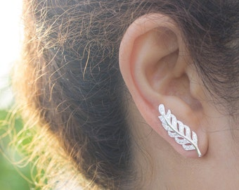 Leaf Ear Cuff, Sterling Silver Leaf Ear Cuff, Silver Leaf Ear Sweeps, Leaf Ear Crawlers, Silver Leaves Ear Climber, Silver Leaf Earrings